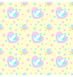 Seamless pattern with doves hearts and branches vector image