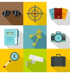 Secret agent icons set flat style vector