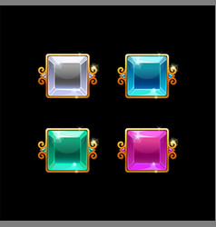 Set colorful square buttons with golden border vector