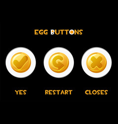 set isolated buttons eggs closes vector image