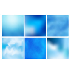 set of blue abstract colorful blurred vector image