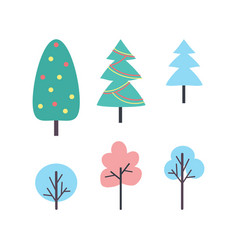 Set of winter trees icons new year plants vector
