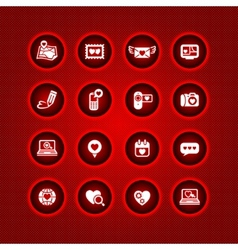 set valentines day icons love on the internet sign vector image
