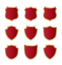 shield gold red icons set shape emblem vector image