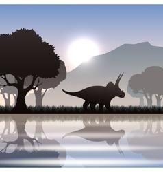 Silhouette dinosaur in landscape vector