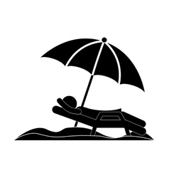 silhouette person in beach chair with umbrella vector image