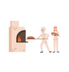 Smiling female bakers baking bread flat vector