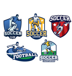 Soccer badge design in set vector