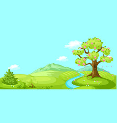 spring landscape with trees mountains and hills vector image