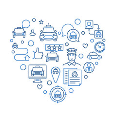 taxi driver concept outline heart shape vector image