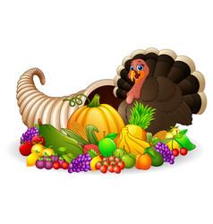 Thanksgiving horn of plenty cornucopia full of veg vector