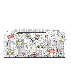 thin line insurance poster banner template vector image