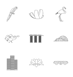 Tourism in Singapore icons set outline style vector image vector image