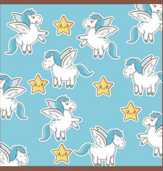 unicorn stars decoration magic animal wallpaper vector image