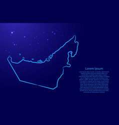 United arab emirates map from contour blue vector