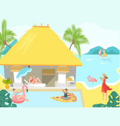 vacationers at sea beach bungalow people vector image
