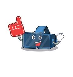 vr virtual reality mascot cartoon style holding vector image