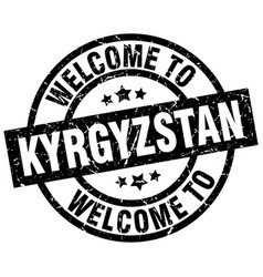 welcome to kyrgyzstan black stamp vector image