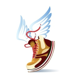 winged sports shoe icon vector image