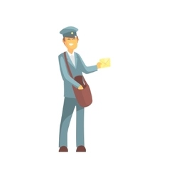 Young Smiling Postman In Uniform vector