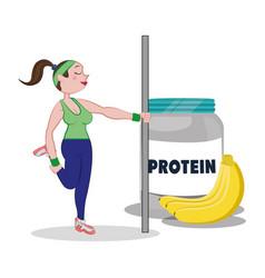 Fitness woman protein fruit banana vector