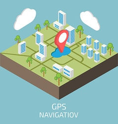 GPS isometric Isometric town map vector image