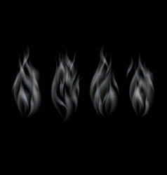 set of delicate realistic cigarette smoke waves vector image