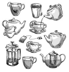 Set of tea cups and teapots vector image vector image