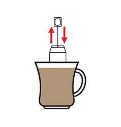 brew tea dunk teabag in mug instruction vector image