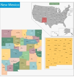 New Mexico map vector image vector image