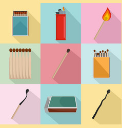 safety match ignite burn icons set flat style vector image