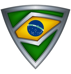 steel shield with flag brazil vector image vector image