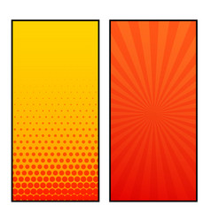 two vertical comic pages style banner design vector image vector image
