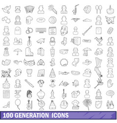 100 generation icons set outline style vector image vector image