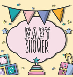 Baby shower invitation with decoration design vector