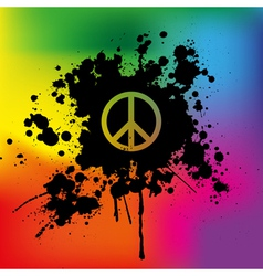 Peace sign on rainbow background vector image