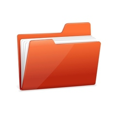Red file folder with documents vector image