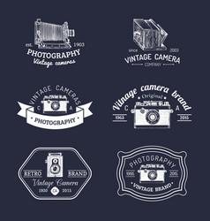 set of old cameras logos vintage photo vector image