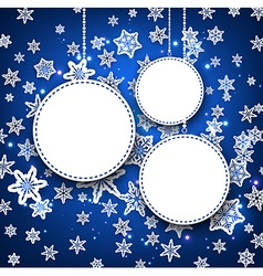 Winter round background with snowflakes vector image vector image