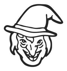 witch face doodle vector image vector image