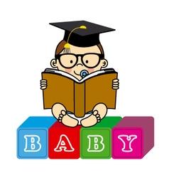 Baby boy with book vector