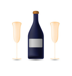 bottle of champagne with two glasses vector image