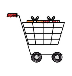 Cart shopping with gift isolated icon vector