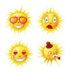 cartoon cute funny sun emojis isolated vector image vector image