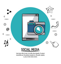 colorful poster of social media with smartphone vector image vector image