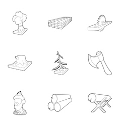 Cutting of trees icons set outline style vector