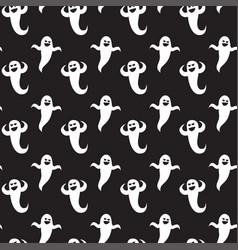 halloween seamless pattern ghosts on black vector image