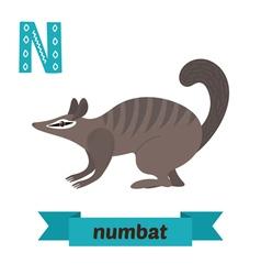 Numbat N letter Cute children animal alphabet in vector image