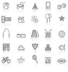 Toy line icons with reflect on white vector image vector image
