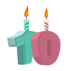 10 years birthday number with festive candle for vector
